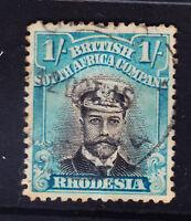 RHODESIA George V 1913 SG232 1/- black&greenish-blue die II P14 fine used cat£55