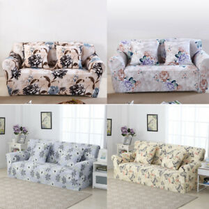 1-4 Seater Elastic Stretch Slipcover Flower Print Sofa Cover Settee Couch Covers