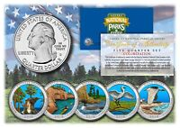 2018 America The Beautiful COLORIZED Quarters U.S. Parks 5-Coin Set w/ Capsules