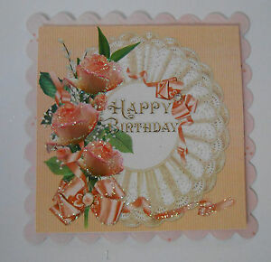 PK 2 PRETTY PEACH FLORAL FAN EMBELLISHMENT TOPPERS FOR CARDS/CRAFTS