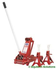 Sealey Tools 3010CX 3 Ton Trolley Jack + Pair 3T Ratchet Axle Stands Car Van New