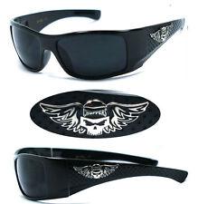 Choppers Bikers Mens Designer Sunglasses Free Pouch - Shiny Black Super Dark C42