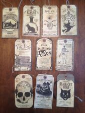 Bethany Lowe Halloween Cabinet Of Curiosities Paper Tag Ornaments--Retired!
