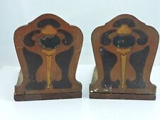 Vintage Primitive Handmade Homemade Wooden Bookends Book Ends Arts & Crafts # 1