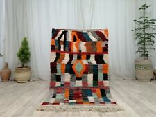 "Handmade Moroccan Vintage Rug 3'1""x5' Checkered Berber Tribal Colorful Wool Rug"