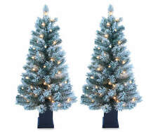 3.5' Dasher Flocked Pre-Lit Artificial Christmas Urn Trees, 2-Pack