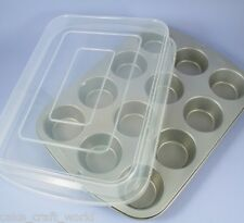 12 Cup Muffin / Cupcake Tin With Plastic Cover