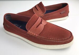 Cole Haan Boat Shoes 1928 Penny Loafer Textile/Leather Red/Orange Men's Sz 10