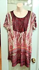 One World Berry Red Wine w Beads Southwest Peasant Tunic Top Blouse Plus L  XL