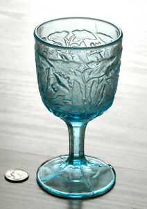 vintage MORNING GLORY blue glass GOBLET L.G. Wright EAPG reproduction