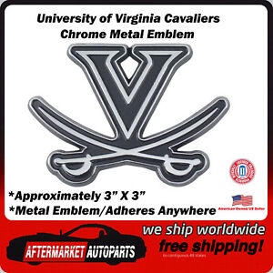 University of Virginia Cavaliers Chrome Metal Car Auto Emblem Decal Top Quality