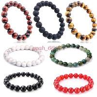 Black Lava Rock Bead Turquoise Tiger-eye Agate Bracelet Buddha Fashion Jewelry