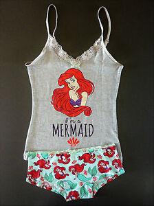Disney Women's Pyjamas Arielle Mermaid Underwear Set Shirt + Panties XS S