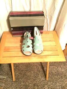 Sketchers Suede Peep-toe Slingback Wedge Stylin Sz 8 Sandals Memory Foam Mint