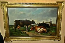 CAMPAGNE / VACHES / PIE   peinture  H s/toile  sign ROBBE    Encdr 106x152cm