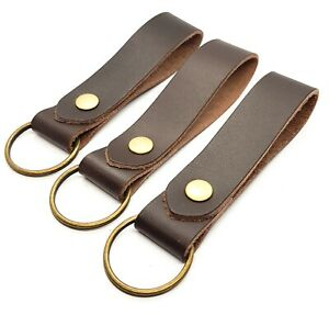 Leather Keyring / Key fob Dark Brown Veg Tanned Leather Antique Brass fittings