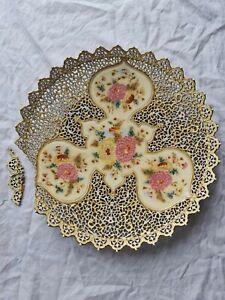 Zsolnay Pecs  XL Austria Hungary Reticulated Charger Plate Ceramic um 1880
