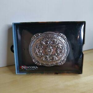 Nocona Western Womens Belt Buckle Oval Floral Rhinestones Silver