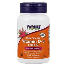 NOW Foods Vitamin D-3 2,000 IU 240 Softgels. FREE SHIPPING. MADE IN USA.