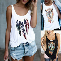 Womens Boho Sleeveless Loose Vest Cami Tank Tops Blouse Summer Casual T-shirt US