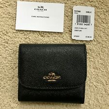 NWT Coach Small Trifold Wallet Crossgrain Leather Black Gold   F87588