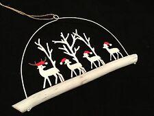 WOOD & Metal Renne scena da Appendere Natale Ornamenti Decorazione Retrò Santa