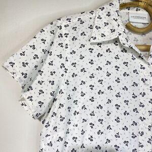 Medium Womans Vintage Tiny Cherry Print Short Sleeve Cotton Shirt