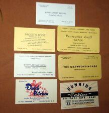 7 Vintage Business Cards 1950s Hotels Restaurants Tourist