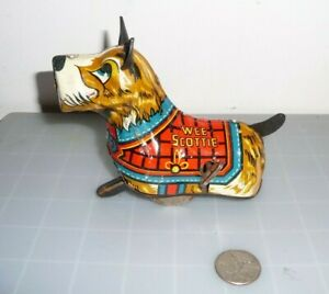 VINTAGE MARX WEE SCOTTIE DOG WIND UP TIN LITHO TOY.  Parts or repair.
