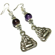 Silver Plated Drop/Dangle Amethyst Round Costume Earrings