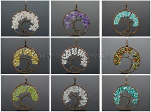 Natural Gemstones Reiki Chakra Chip Beads Tree of Life Copper Pendant Charms