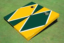 Green And Yellow Alternating Diamond Custom Cornhole Board