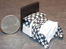 Dollhouse Miniature Bed Black Checker 1:48 Quarter scale 1/4 D24 Dollys Gallery