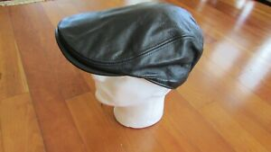 Leather cap motorcycle Harley Davidson insignia black L-XL 7 3/8- 7 5/8 not worn