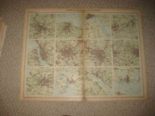 ANTIQUE BIRMINGHAM LEEDS PORTSMOUTH LIVERPOOL SOUTHAMPTON BRISTOL ENGLAND MAP NR
