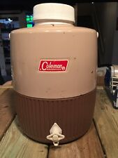 VTG 1969'  2 Gallon COLEMAN Brown Tan MetaI Drink Water Cooler Beverage Jug