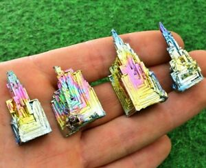 1 Rainbow Bismuth Crystal Towers Only 3-4cm Titanium Specimen Mineral UK BUY✔