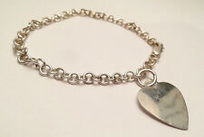 """HEART TAG LOVE CHARM BRACELET 5mm ROLO CHAIN STERLING SILVER 925 7.5"""" LONG"""