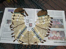 Native American / Indian Wooden Brown Beaded Neck Breastplate Reproduction