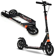 Folding Aluminum Adult Kick Scooter Adjustable Height Dual Brake 2 Wheels Black