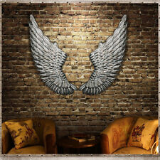 100cm Pair Large Antique Silver Angel Wings Iron Wall Hanging Art Home Decor AU