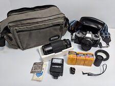 Olympus OM-10 Camera Lot Camera Lens Film Flash w/ Bag