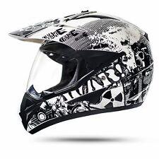 Enduro Helm mit Visier Weiß L ECE War Crosshelm Quad  Motorradhelm Motocrosshelm
