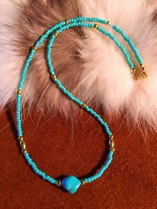 """Turquoise Nugget Necklace with Beautiful Gold Accents, 19"""" long."""