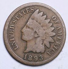 1893 INDIAN HEAD CENT PENNY / CIRCULATED GRADE GOOD / VERY GOOD 95% COPPER COIN