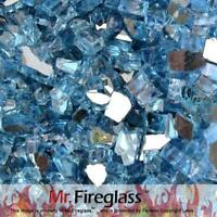 "Mr. Fireglass 1/4"" Reflective Fire Glass Fireplace Fire Pit, 10 lb, Pacific Blue"