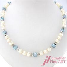 Akoya-Perlencollier *weiß-blau* 750/18K Weißgoldschließe  - 66 cm - 52,4 g