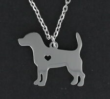 Steel Charm Pendant Pet Puppy New Beagle Dog Open Heart Necklace - Stainless