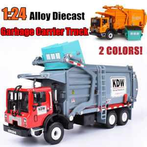 KDW 1:24 Alloy Diecast Garbage Carrier Truck Waste Transporter Vehicle Toys Gift