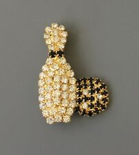 Vintage Bowling pin  & ball brooch pin in metal with crystals
